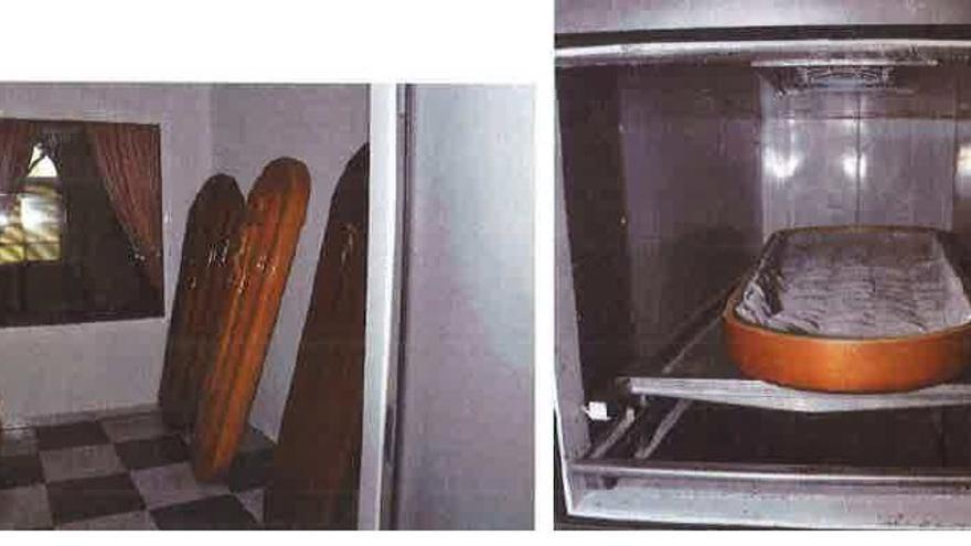 Tapas de ataúd en el horno y sala del Parque Cementerio El Salvador tomadas por la Policía durante el registro y que según los investigadores servían para realizar las incineraciones sustituyendo a los ataúdes comprados por las familias que después se revendían a otros clientes.