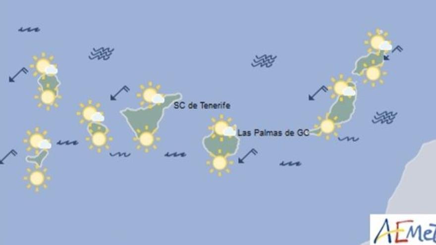 Mapa con la previsión meteorológica para este jueves, 24 de agosto de 2017