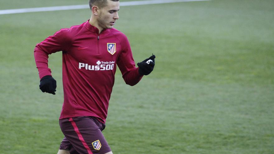Lucas Hernandez, en un entrenamiento del Atlético de Madrid el 18 de enero