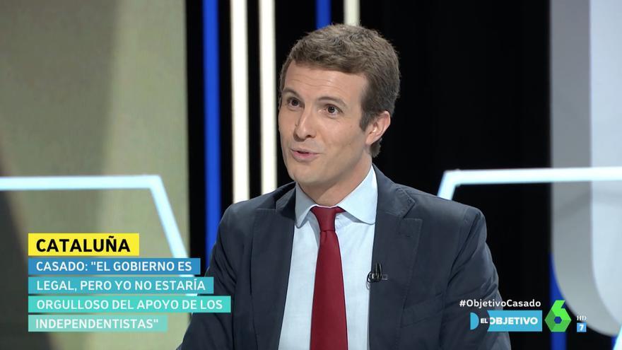 El líder del Partido Popular, Pablo Casado, en el plató de 'El Objetivo'