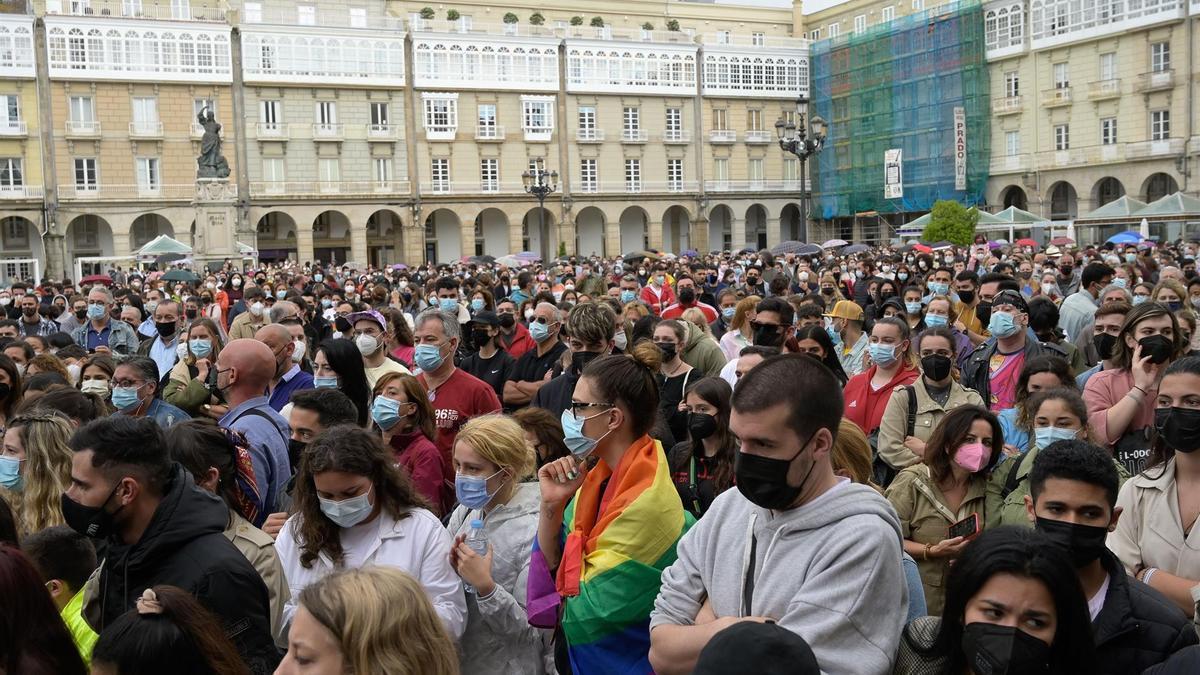 Concentración en A Coruña en repulsa por el crimen de Samuel