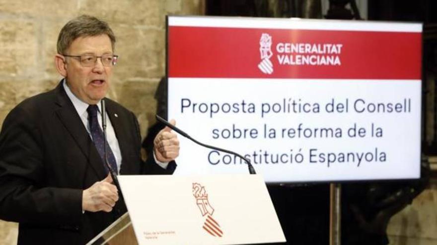 Ximo Puig durante la presentación de la propuesta del Consell para la reforma de la Constitución