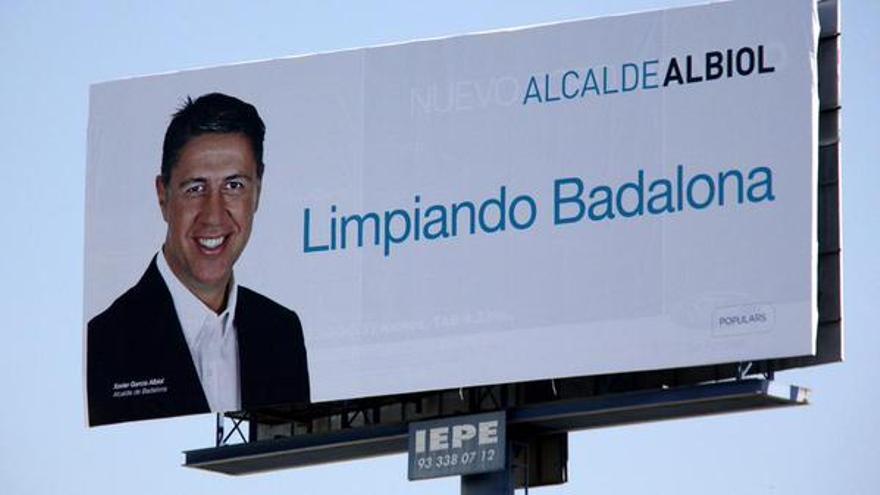 Cartel de la candidatura de Xavier Garcia Albiol en Badalona.