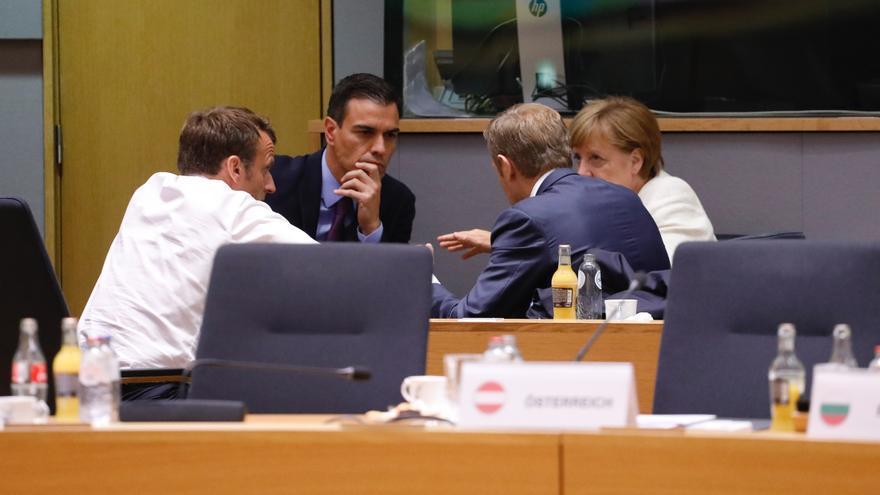 Emmanuel Macron, Pedro Sánchez, Angela Merkel y Donald Tusk.