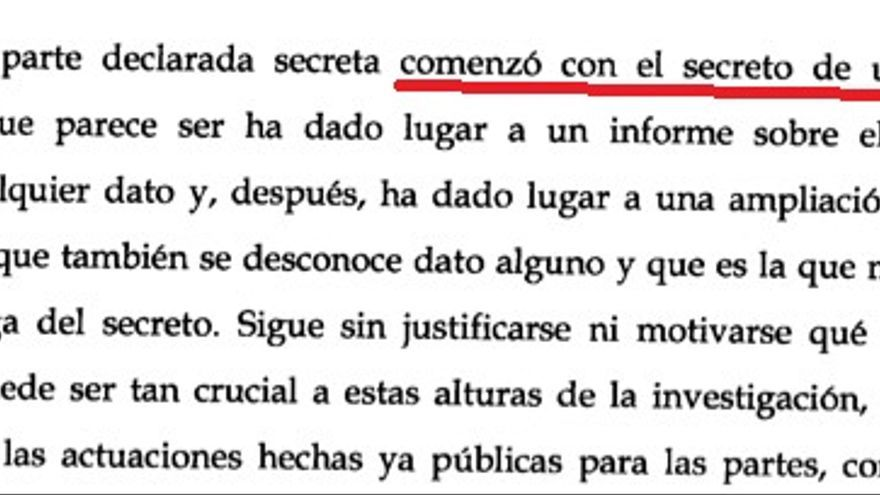 Fragmento del recurso de Samper a la prórroga de secreto sobre el patrimonio de Cámara en el 'Caso Umbra'