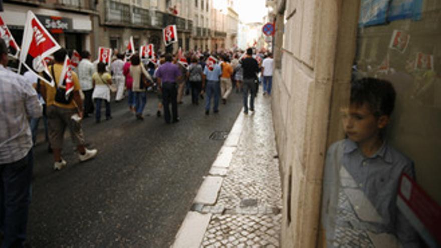 Manifestación del sindicato de Portugal CGTP