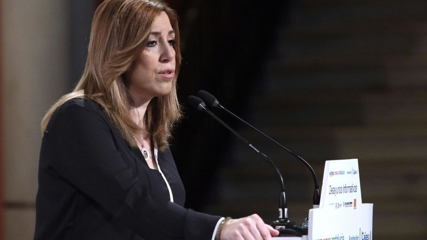 """Susana Díaz acusa a Pablo Iglesias de actuar como un """"trilero"""" y de intentar influir en la """"vida interna"""" del PSOE"""
