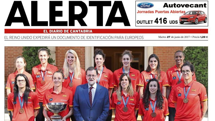 Portada del periódico ALERTA (Cantabria).