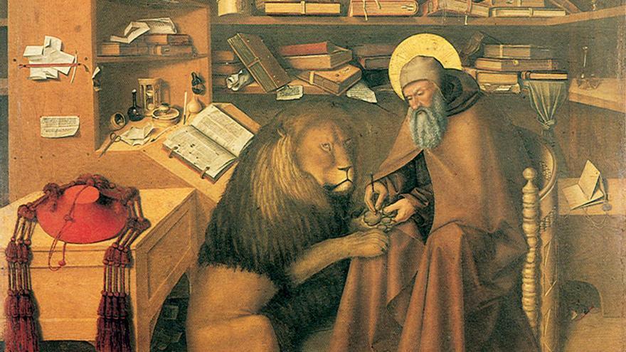 'San Jerónimo y el león en su estudio'. Niccolò Antonio Colantonio. Museo Nacional de Capodimonte, Nápoles (Italia)