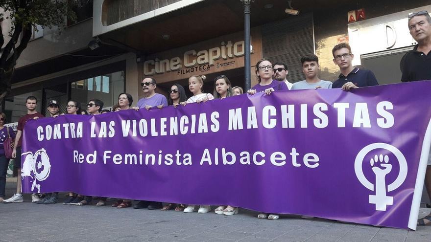 Miembros de la Red Feminista en la concentración de este 25 de julio.