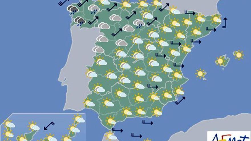 La Aemet prevé para hoy nubosidad en la mayor parte país y viento en el norte