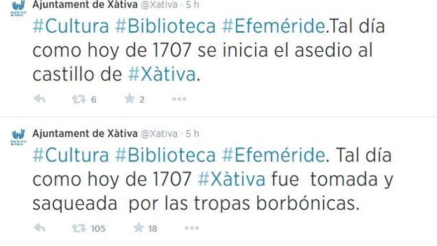 El Ayuntamiento de Xàtiva recuerda en Twitter la efeméride del saqueo de la ciudad por tropas borbónicas
