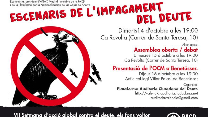Cartel de la semana contra la deuda de la PACD Valencia.