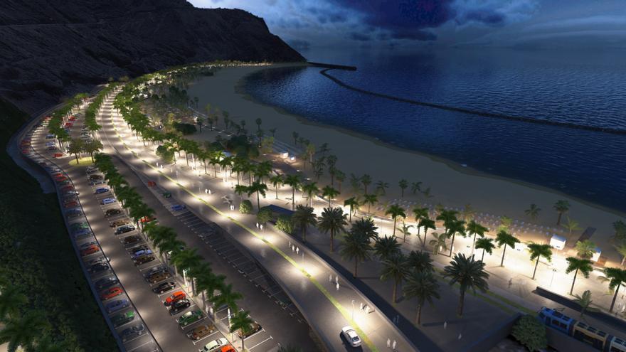 Playa de Las Teresitas, con la iluminación nocturna prevista en el Plan Especial