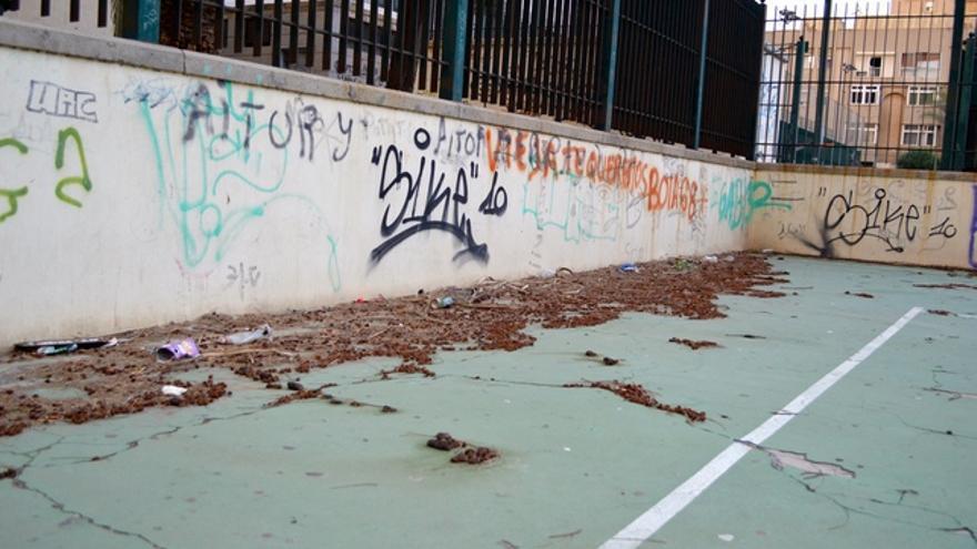 """Los vecinos usan una cancha deportiva como zona de """"pipican"""". FOTO: Iago Otero Paz."""