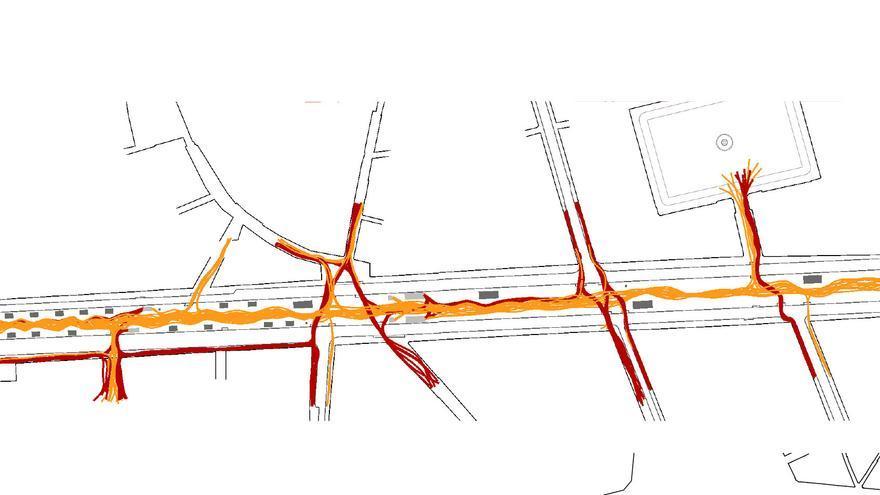 El gráfico muestra las líneas de movimiento que trazan habitualmente turistas (en naranja) y vecinos (en rojo) por la Rambla de Barcelona