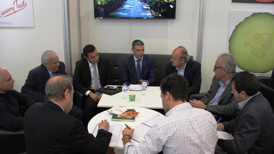 Narvay Quintero, en la reunión de este miércoles con integrantes de Fedex, en la ciudad de Berlín