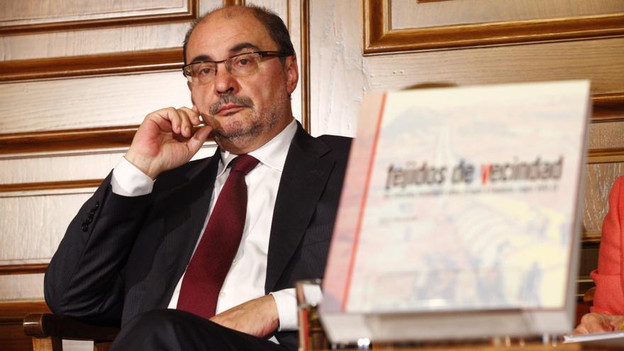 Javier Lambán, el pasado miércoles, en la presentación de un libro sobre los vínculos históricos entre Aragón y Catalunya