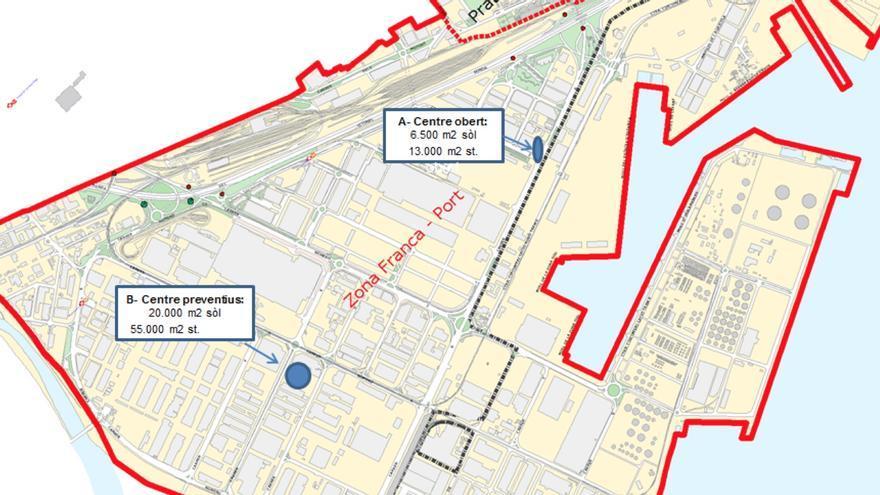 La situació prevista dels dos centres a la Zona Franca de Barcelona