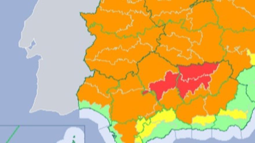 Alerta naranja en Extremadura / http://www.aemet.es