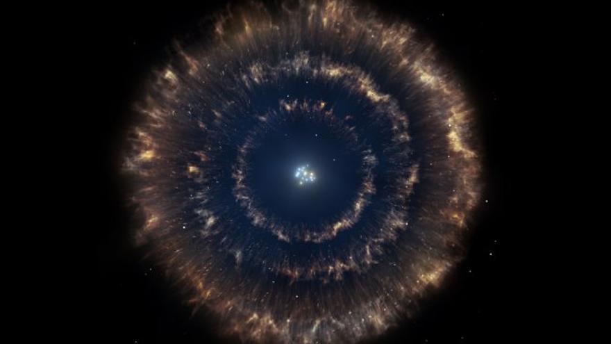 Representación artística idealizada del objeto, mostrando el cúmulo estelar con las tres burbujas a su alrededor. Crédito: Gabriel Pérez/SMM (IAC).