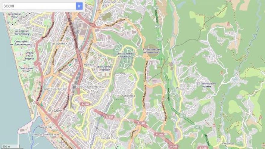Los usuarios se han volcado con OpenStreetMap para señalar hasta el último detalle referente a los Juegos Olímpicos de Invierno de Sochi