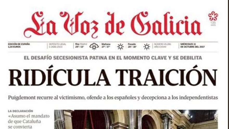 Portada de La Voz de Galicia del 11 de octubre