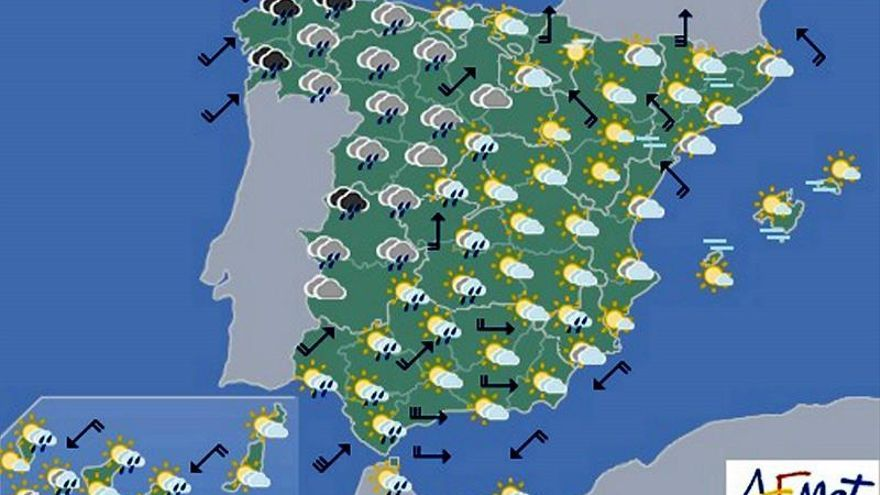 La semana comienza con precipitaciones en la mayor parte de la Península