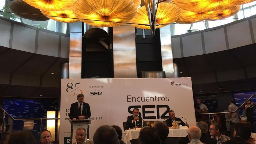 Ximo Puig en su intervención en los encuentros de la Cadena Ser