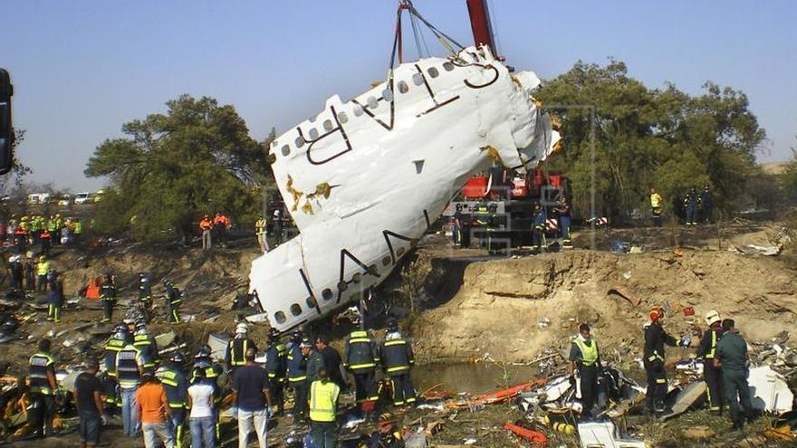 Restos del avión accidentado de Spanair