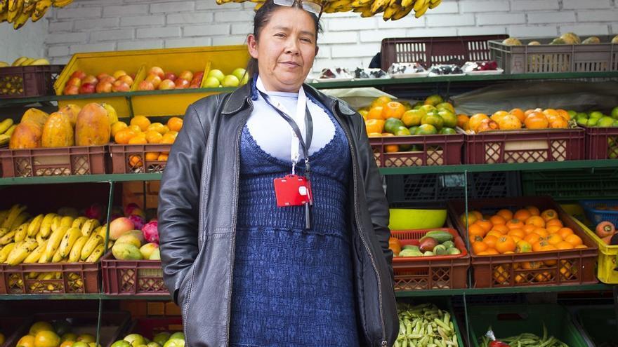 Marlene Zambrano, en el mercado de La Perseverancia, Bogotá. / Fotografía: Noelia Vera.