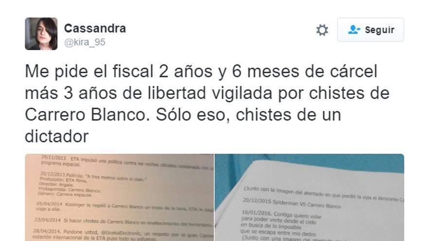 Tuit de Cassandra en el que denunciaba la petición del fiscal