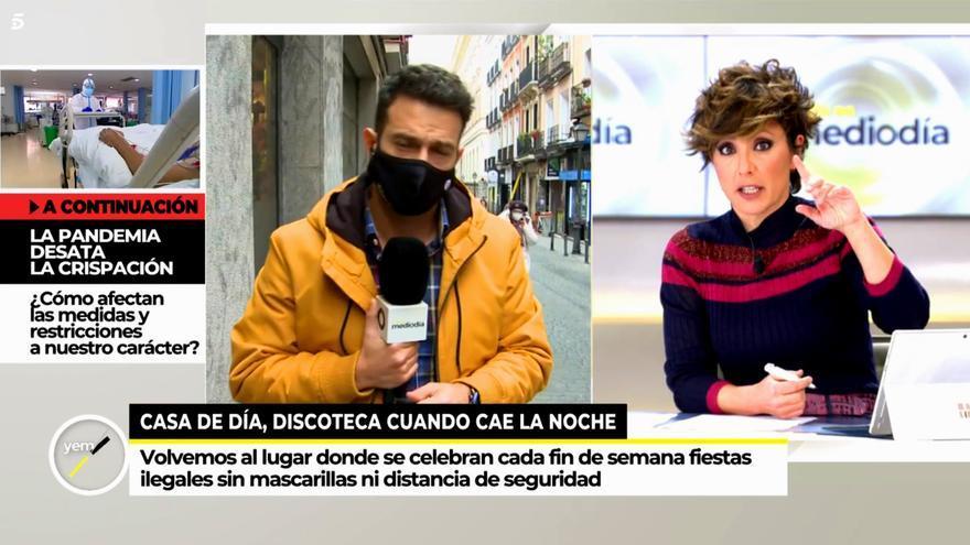 Sonsoles Ónega saluda al reportero de 'Ya es mediodía' que ha visitado el lugar donde se celebró la fiesta ilegal