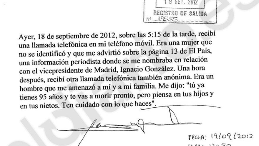 Denuncia presentada por Álvaro Lapuerta en comisaría (página 2)