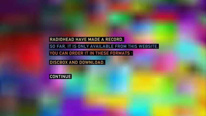 Vista de la página web que ofrecía 'In Rainbows'