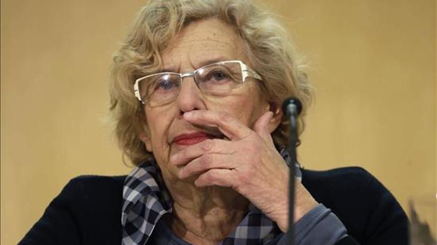 La alcaldesa de Madrid, Manuela Carmena, comparece en una rueda de prensa sobre la polémica de los títeres del Carnaval, el 8 de febrero de 2015 en la sede del Ayuntamiento.