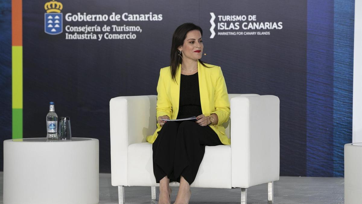 Yaiza Castilla, consejera de Turismo, en la presentación de la nueva estrategia