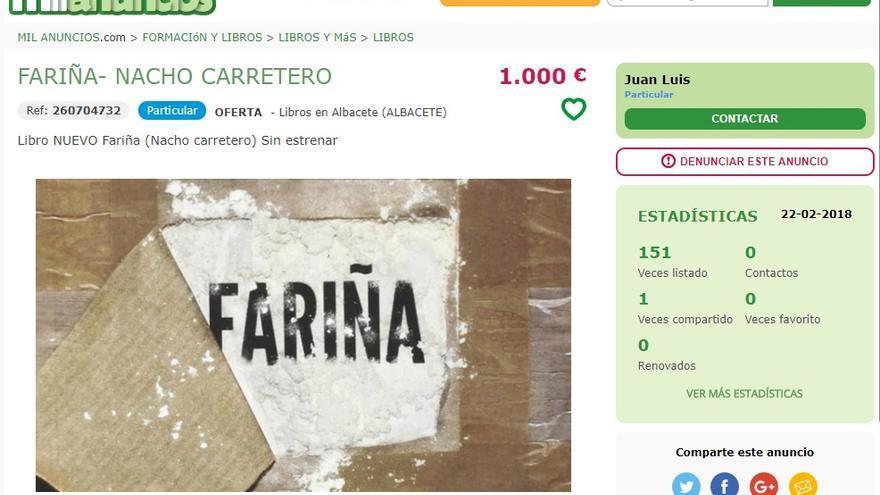 Ejemplar de Fariña a 1000 euros en Mil Anuncios