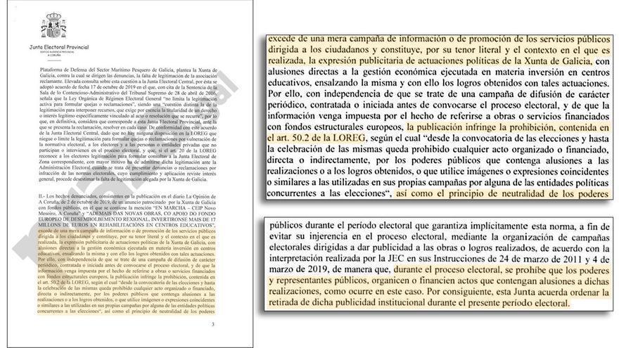 Fragmentos de la resolución de la Junta Electoral de A Coruña sobre las campañas de la Xunta
