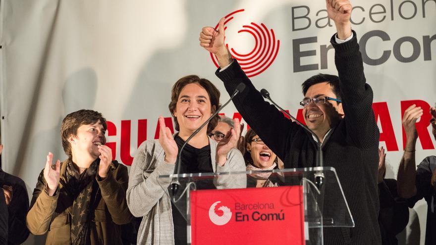 Els candidats de Barcelona en Comú durant l'acte de presentació de campanya / SANDRA LÁZARO