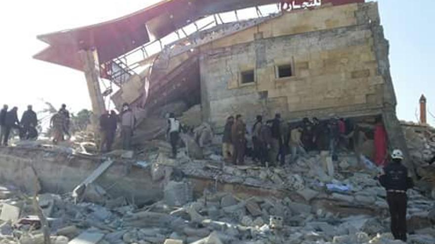 El hospital apoyado por MSF en Idlib (Siria) tras recibir al menos dos ataques. | Imagen cedida por MSF.