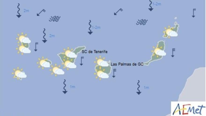Mapa con la previsión meteorológica para este domingo, 25 de junio de 2017