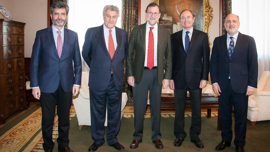 Rajoy reflexiona sobre el escenario postelectoral con los presidentes del Congreso, el Senado, el TC y el CGPJ