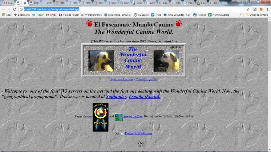 Esta es una de las primeras páginas web creadas en España: trataba sobre razas de perros