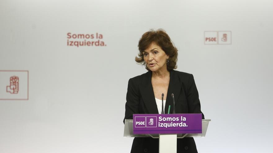 """Carmen Calvo asegura que el PSOE no está """"jugando a fotos, ni a siglas"""""""