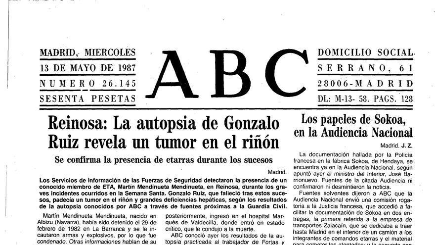 Página del diario ABC en la que aseguraban que había miembros de ETA en Reinosa.