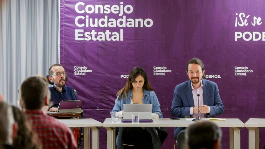 El portavoz de Unidas Podemos en el Congreso, Pablo Echenique; la portavoz adjunta de Unidas Podemos en el Congreso, Ione Belarra; y el secretario general de Podemos, Pablo Iglesias, FOTO: Ricardo Rubio/  Europa Press