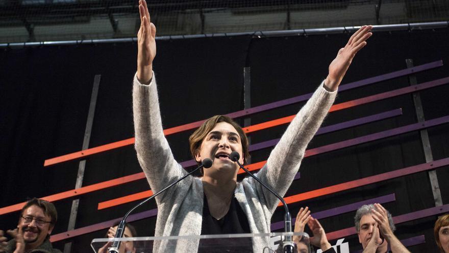 Ada Colau celebra los resultados de En Comú Podem
