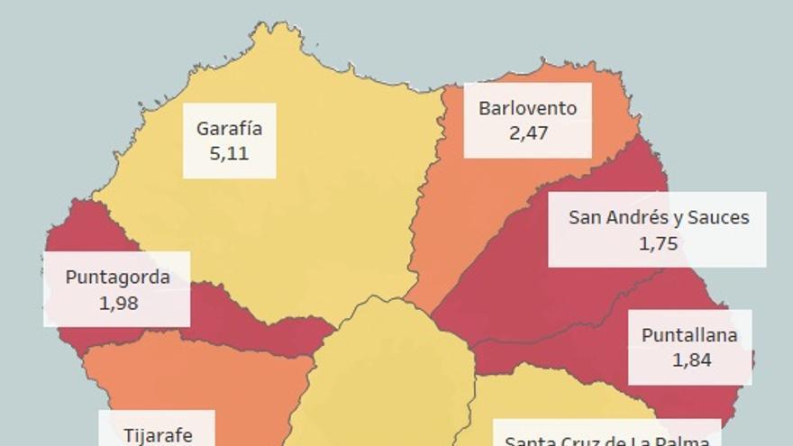 Mapa de La Palma con la puntuación de cada ayuntamiento.