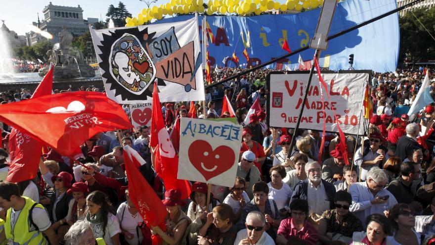 Manifestación antiaborto de 2009, apoyada por el PP.